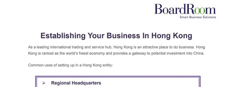 Establishing Your Business in Hong Kong