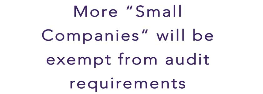 """More """"Small Companies"""" will be exempt from audit requirements"""