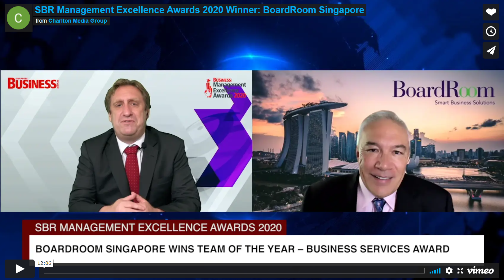 Singapore Business Review Management Excellence Awards 2020 Interview
